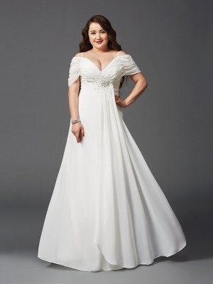 A-Line/Princess Off-the-Shoulder Ruched Short Sleeves Long Chiffon Plus Size Dresses