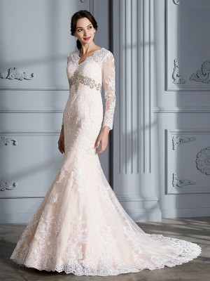 Trumpet/Mermaid V-Neck Beading Long Sleeves Sweep/Brush Train Organza Wedding Dresses