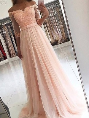 A-Line/Princess 3/4 Sleeves Off-the-Shoulder Tulle Sash/Ribbon/Belt Sweep/Brush Train Dresses