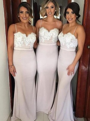 A-Line/Princess Sleeveless Sweetheart Floor-Length Lace Satin Bridesmaid Dresses