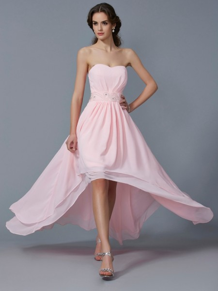 A-Line/Princess Sweetheart Sleeveless Beading High Low Chiffon Homecoming Dresses