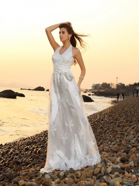 A-Line/Princess Halter Sash/Ribbon/Belt Sleeveless Long Lace Beach Wedding Dresses