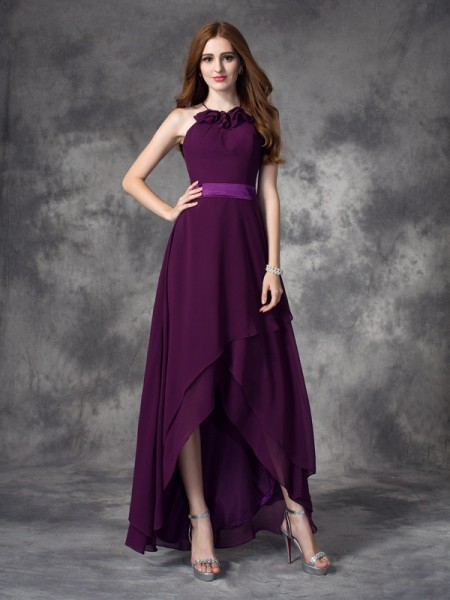 A-line/Princess Halter Ruffles Sleeveless High Low Chiffon Bridesmaid Dresses