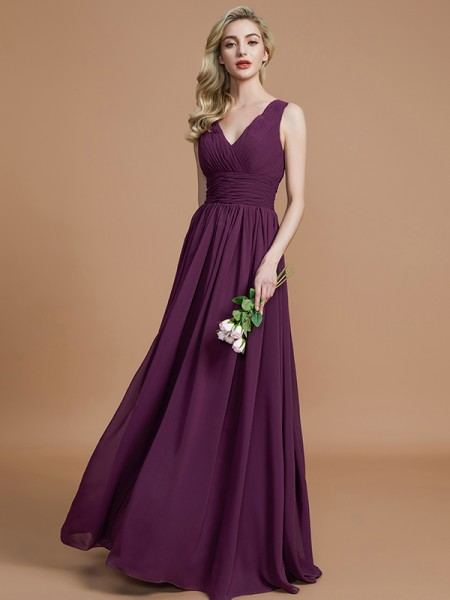 A-Line/Princess Sleeveless V-neck Floor-Length Chiffon Bridesmaid Dresses