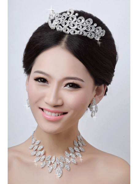 Charming Alloy Clear Crystals Wedding Headpieces Necklaces Earrings Set