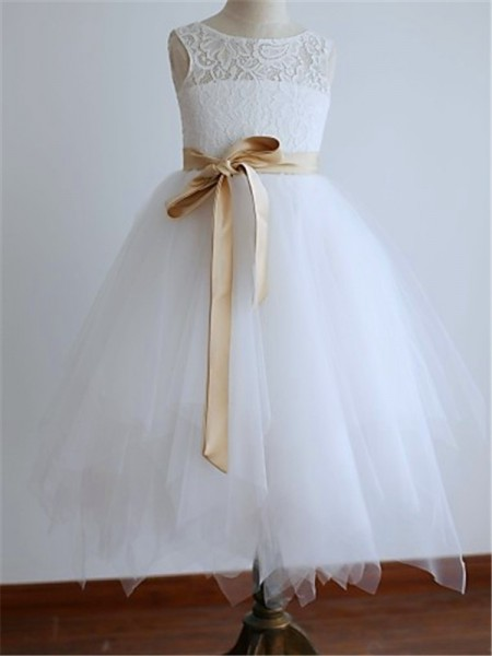 A-line/Princess Scoop Sleeveless Sash/Ribbon/Belt Ankle-Length Tulle Flower Girl Dresses