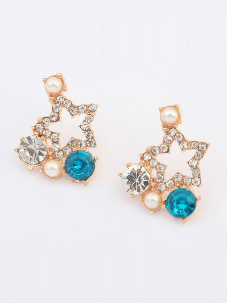 Occident Popular Five-pointed star with diamonds Stud Hot Sale Earrings