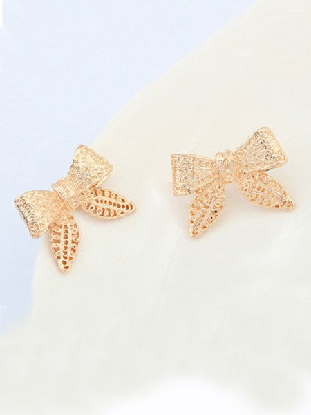 Occident Cartoon Bowknot Metallic Stud Hot Sale Earrings