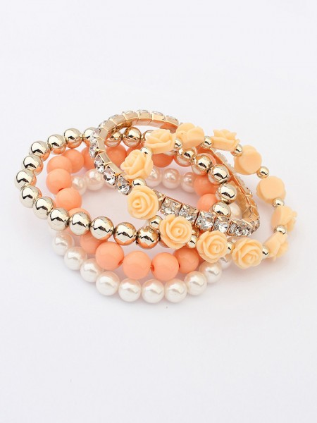 Korean version Sweet Multi-layered Rose Elasticity Hot Sale Bracelets