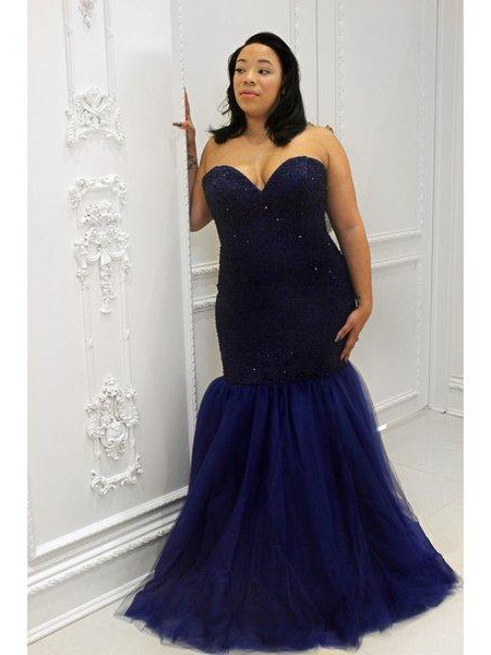 Trumpet/Mermaid Sweetheart Sleeveless Sequin Floor-Length Tulle Plus Size Dresses