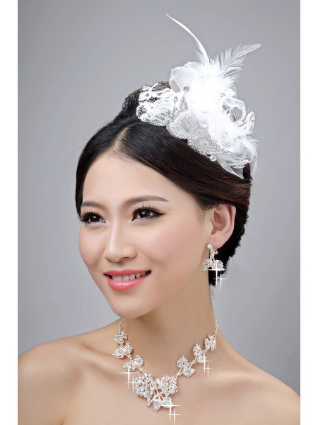 Nice Alloy Clear Crystals Flower Wedding Headpieces Necklaces Earrings Set