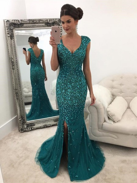 A-Line/Princess V-Neck Sleeveless Sweep/Brush Train Sequin Tulle Dresses