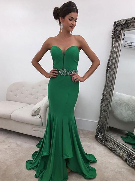 Trumpet/Mermaid Sleeveless Sweetheart Ruffles Sweep/Brush Train Satin Dresses