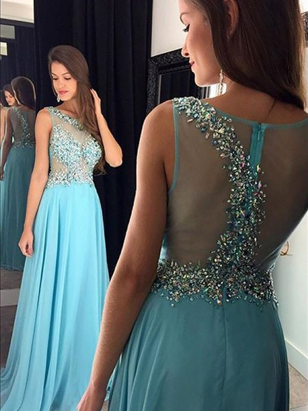 A-Line/Princess Bateau Sleeveless Floor-Length Beading Chiffon Dresses