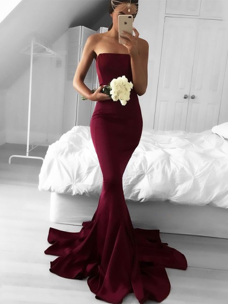 Trumpet/Mermaid Strapless Sweep/Brush Train Jersey Sleeveless Ruffles Dresses