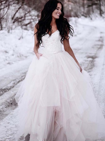 A-Line/Princess Ruched Tulle V-neck Sleeveless Floor-Length Wedding Dresses