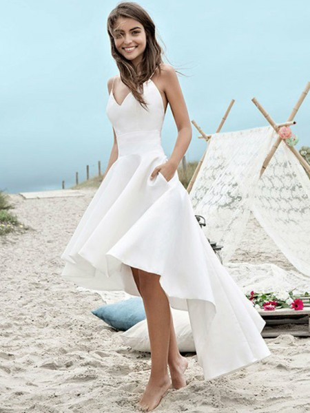 A-Line/Princess Satin Ruched Sleeveless Spaghetti Straps Asymmetrical Wedding Dresses