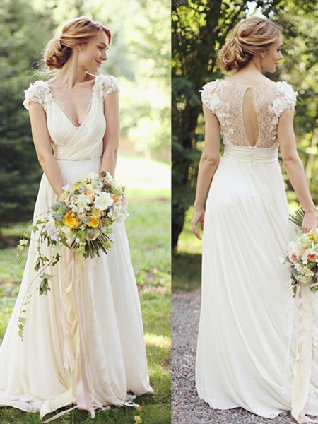 A-Line/Princess Chiffon Ruched V-neck Short Sleeves Sweep Train Wedding Dresses