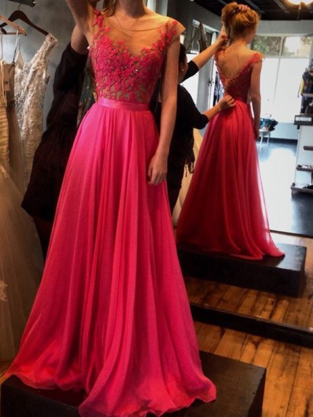A-Line/Princess Sleeveless Scoop Sweep Train Applique Chiffon Dresses