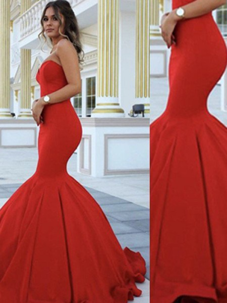 Trumpet/Mermaid Sweetheart Sleeveless Sweep Train Satin Dresses