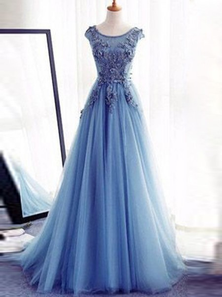 Ball Gown Sleeveless Jewel Sweep Train Applique Tulle Dresses