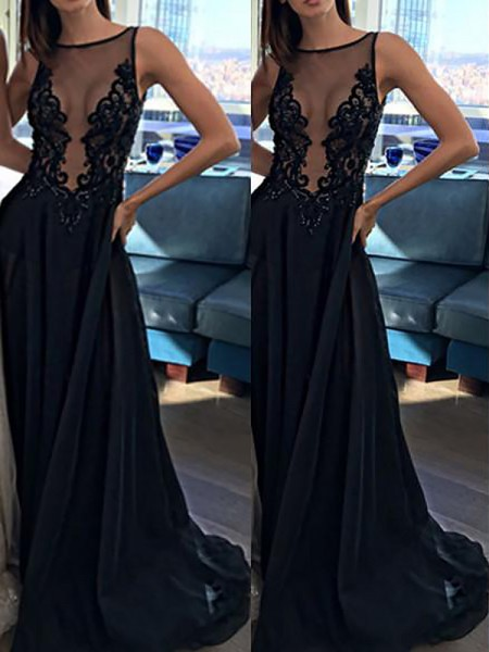 A-Line/Princess Sleeveless Bateau Chiffon Applique Sweep/Brush Train Dresses