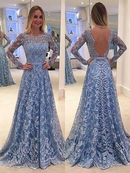A-Line/Princess Long Sleeves Lace Floor-Length Bateau Ruffles Dresses
