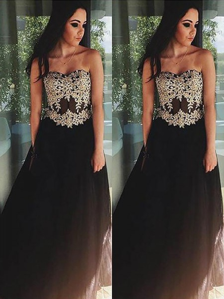 A-Line/Princess Sleeveless Sweetheart Tulle Applique Floor-Length Dresses
