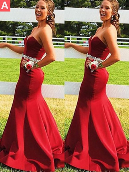 Trumpet/Mermaid Sleeveless Sweetheart Satin Beading Sweep/Brush Train Dresses