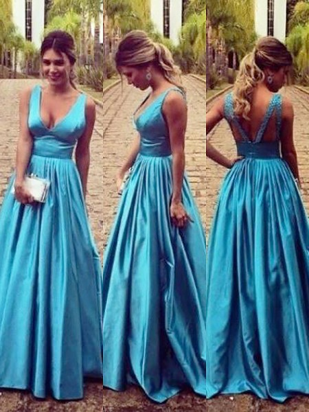 A-Line/Princess Sleeveless V-neck Elastic Woven Satin Ruched Floor-Length Dresses