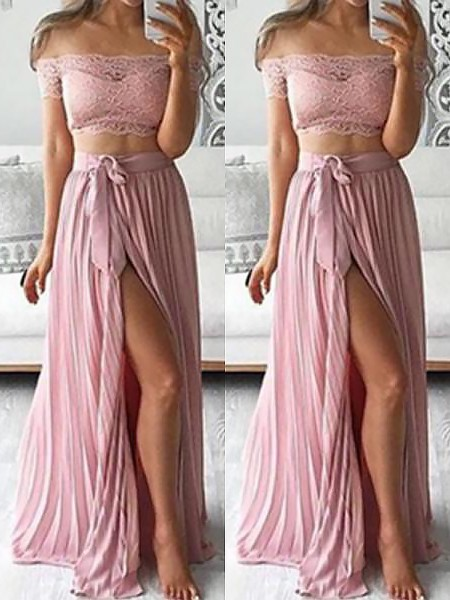 A-Line/Princess Off-the-Shoulder Sleeveless Chiffon Floor-Length Lace Two Piece Dresses