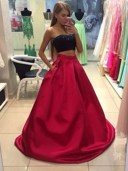 A-Line/Princess Strapless Sleeveless Tulle Floor-Length Beading Two Piece Dresses