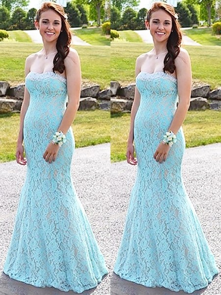 Trumpet/Mermaid Sleeveless Sweetheart Lace Beading Floor-Length Dresses