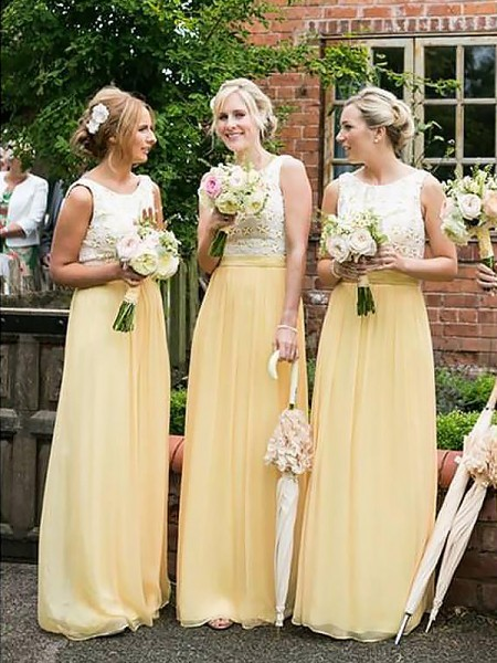 A-Line/Princess Scoop Sleeveless Chiffon Floor-Length Bridesmaid Dresses