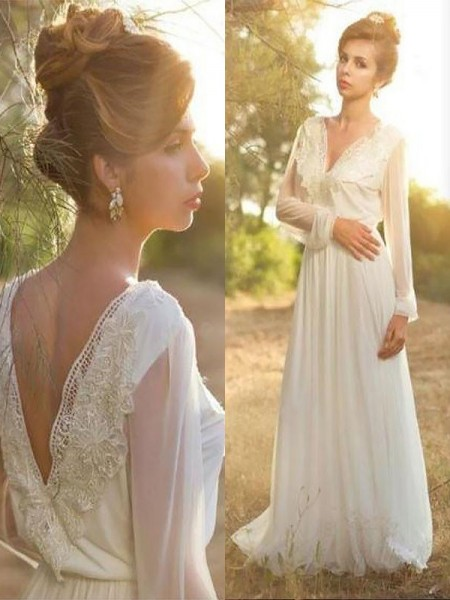A-Line/Princess V-neck Long Sleeves Lace Chiffon Sweep/Brush Train Wedding Dresses