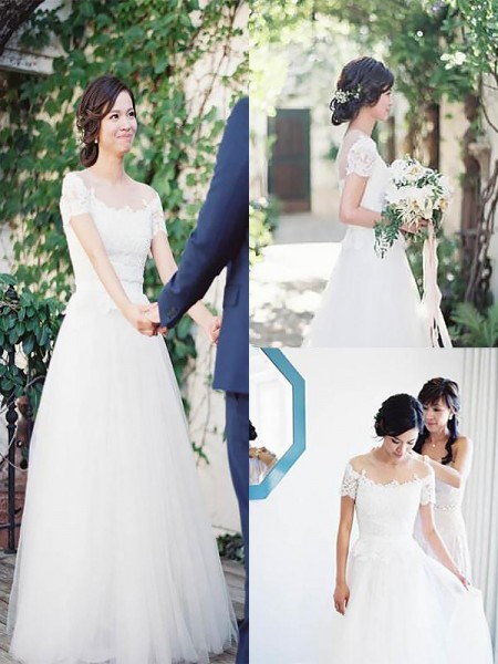 A-Line/Princess Bateau Short Sleeves Tulle Sweep/Brush Train Wedding Dresses
