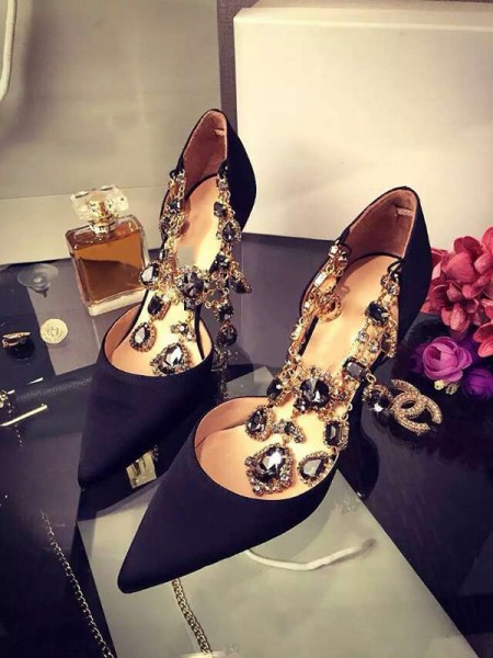 Women's Stiletto Heel Satin Closed Toe With Rhinestone Chain High Heels