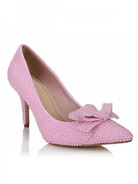 Women's Stiletto Heel Patent Leather Closed Toe With Pearl Bowknot Pink Wedding Shoes