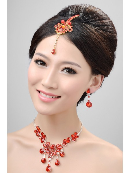 Stunning Pearls Alloy Crystals Wedding Headpieces Necklaces Earrings Set
