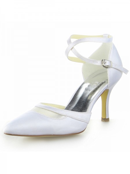 Women's White Satin Closed Toe Spool Heel With Buckle White Wedding Shoes