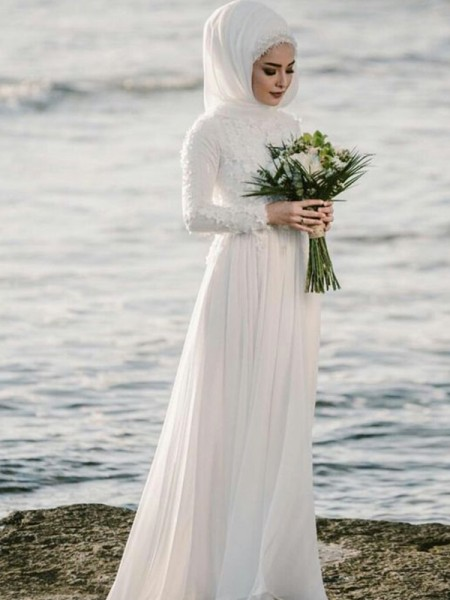 A-Line Jewel Long Sleeves Floor-Length With Applique Chiffon Wedding Dresses